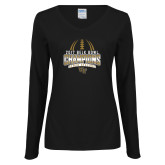 Ladies Black Long Sleeve V Neck T Shirt-2017 Belk Bowl Champions - Football Stacked