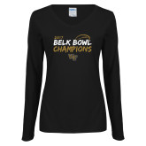 Ladies Black Long Sleeve V Neck T Shirt-2017 Belk Bowl Champions - Brush Script