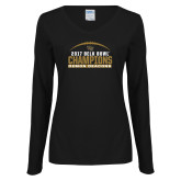 Ladies Black Long Sleeve V Neck T Shirt-2017 Belk Bowl Champions - Football Arched