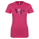 Ladies SoftStyle Junior Fitted Fuchsia Tee-WF Foil