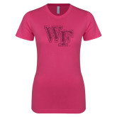 Ladies SoftStyle Junior Fitted Fuchsia Tee-WF Hot Pink Glitter