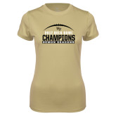 Ladies Syntrel Performance Vegas Gold Tee-2017 Belk Bowl Champions - Football Arched