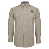 Khaki Long Sleeve Performance Fishing Shirt-WF
