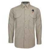 Khaki Long Sleeve Performance Fishing Shirt-Deacon Head