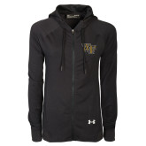 Ladies Under Armour Black Varsity Full Zip Hoodie-WF
