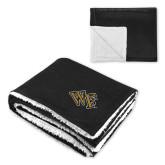 Super Soft Luxurious Black Sherpa Throw Blanket-WF