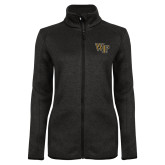 Black Heather Ladies Fleece Jacket-WF