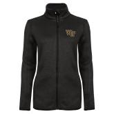 Black Heather Ladies Fleece Jacket-WF