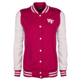 Ladies Pink Raspberry/White Fleece Letterman Jacket-WF