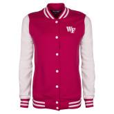 Ladies Pink Raspberry/White Fleece Letterman Jacket-WF