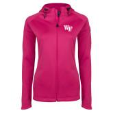 Ladies Tech Fleece Full Zip Hot Pink Hooded Jacket-WF
