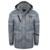Grey Brushstroke Print Insulated Jacket-WF