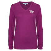 Ladies Deep Berry V Neck Sweater-WF