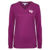 Ladies Deep Berry V Neck Sweater-WF