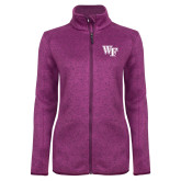 Dark Pink Heather Ladies Fleece Jacket-WF