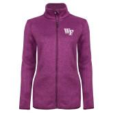 Dark Pink Heather Ladies Fleece Jacket-WF