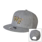 Heather Grey Wool Blend Flat Bill Snapback Hat-WF