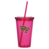 Madison Double Wall Pink Tumbler w/Straw 16oz-WF