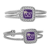 Crystal Studded Cable Cuff Bracelet With Square Pendant-Waldorf W