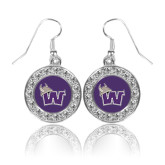 Crystal Studded Round Pendant Silver Dangle Earrings-Waldorf W