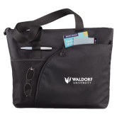 Excel Black Sport Utility Tote-Waldorf University Academic Mark Flat