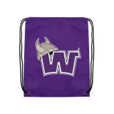 Nylon Purple Drawstring Backpack-Waldorf W