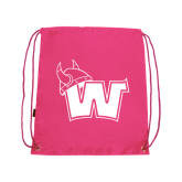 Nylon Pink Drawstring Backpack-Waldorf W