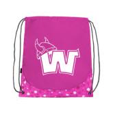 Nylon Pink Bubble Patterned Drawstring Backpack-Waldorf W