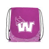 Nylon Zebra Pink/White Patterned Drawstring Backpack-Waldorf W
