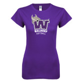 Next Level Ladies SoftStyle Junior Fitted Purple Tee-Softball
