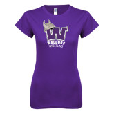 Next Level Ladies SoftStyle Junior Fitted Purple Tee-Wrestling