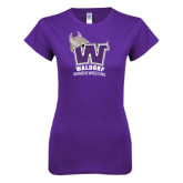 Next Level Ladies SoftStyle Junior Fitted Purple Tee-Womans Wrestling