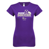 Next Level Ladies SoftStyle Junior Fitted Purple Tee-Soccer Swoosh Design