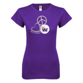 Next Level Ladies SoftStyle Junior Fitted Purple Tee-Peace, Love and Volleyball Design