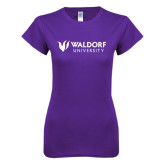 Next Level Ladies SoftStyle Junior Fitted Purple Tee-Waldorf University Academic Mark Flat