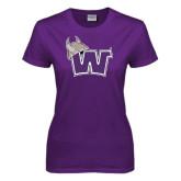 Ladies Purple T Shirt-Waldorf W Distressed