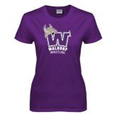 Ladies Purple T Shirt-Wrestling