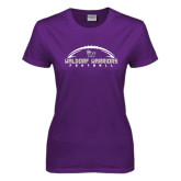 Ladies Purple T Shirt-Arched Football Design
