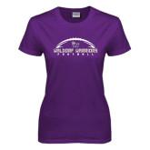 Ladies Purple T Shirt-Arched Football Design