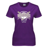 Ladies Purple T Shirt-Softball Bats and Plate Design