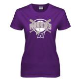 Ladies Purple T Shirt-Softball Bats and Plate Design