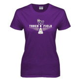 Ladies Purple T Shirt-Track and Field Design