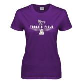 Ladies Purple T Shirt-Track and Field Design