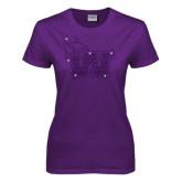 Ladies Purple T Shirt-Waldorf W Rhinestones