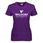 Ladies Purple T Shirt-Waldorf University Academic Mark Stacked