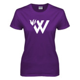 Ladies Purple T Shirt-Waldorf W Academic Mark