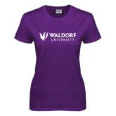 Ladies Purple T Shirt-Waldorf University Academic Mark Flat