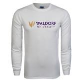 White Long Sleeve T Shirt-Waldorf University Academic Mark Flat