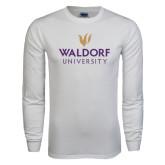 White Long Sleeve T Shirt-Waldorf University Academic Mark Stacked