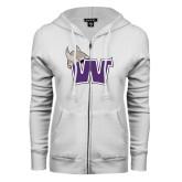 ENZA Ladies White Fleece Full Zip Hoodie-Waldorf W